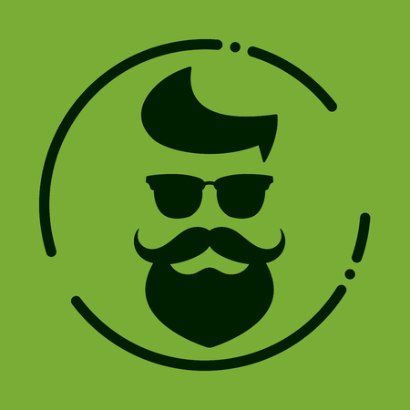 Monochrome hipster with beard, glasses, haircut, mustaches. Silhouette, avatar, label, logo emblem on a green background. Vector illustration