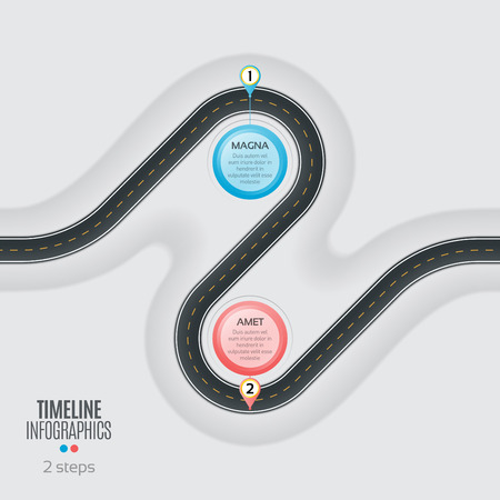 Navigation map infographic 2 steps timeline concept. Winding roa