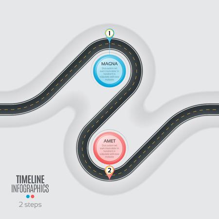 Navigation map infographic 2 steps timeline concept. Winding roa
