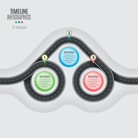 Navigation map infographic 3 steps timeline concept. Winding roa Illustration
