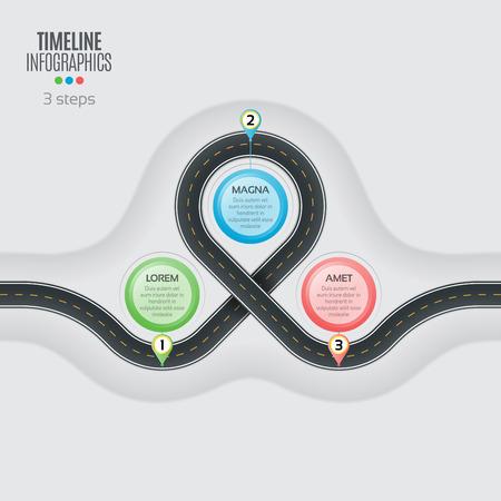 mapa de procesos: Navigation map infographic 3 steps timeline concept. Vectores
