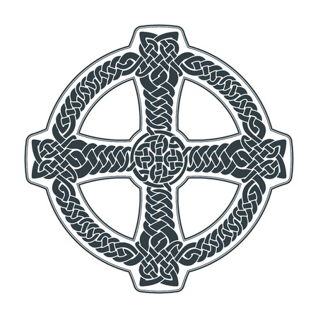 Vector celtic cross. Ethnic ornament. Geometric design. T-shirt