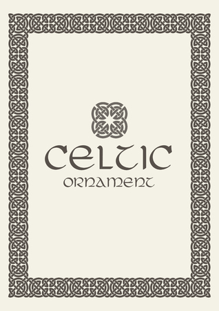 Celtic knot braided frame border ornament. Vector illustration.  イラスト・ベクター素材