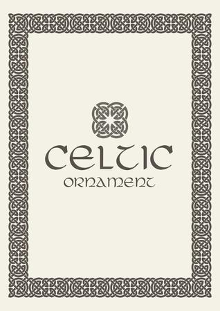 Noeud celtique tressé cadre frontière ornement illustration vectorielle. vecteur Banque d'images - 80976113