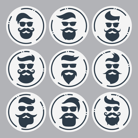 Monochrome hipsters faces set with different beards, glasses, ha