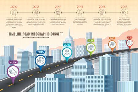 Timeline infographic road concept on similar New York City skyli
