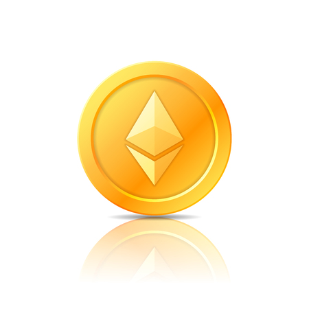 metal net: Ethereum coin symbol, icon, sign, emblem. Vector illustration. Illustration