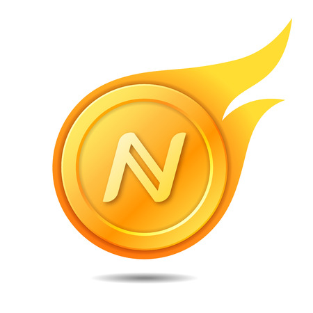 Flaming namecoin symbol, icon, sign, emblem. Vector illustration.