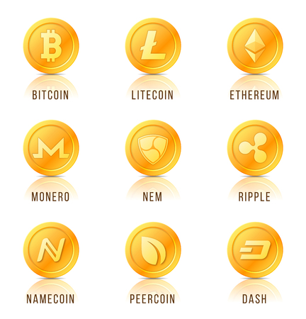 Cryptocurrency コイン記号、アイコン、記号、エンブレムのセットです。ベクトルの図。