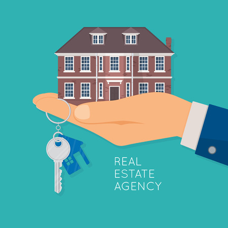 Hand holding house and key. Real estate agency concept. Vector illustration