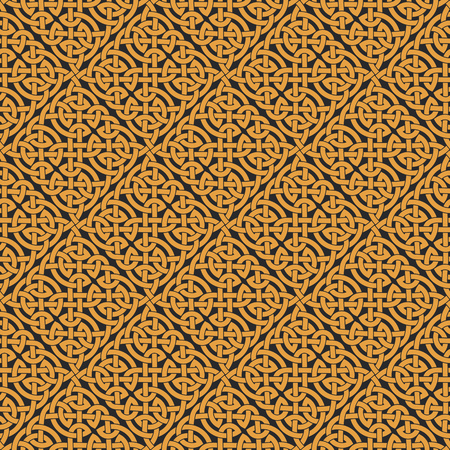 シームレスなケルト族の結び目の無限のパターン。ベクトル図