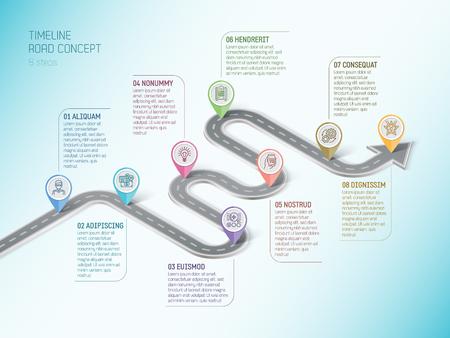 Isometrische navigatie kaart infographic 8 stappen tijdlijn concept. Bochtige weg. Vector illustratie.