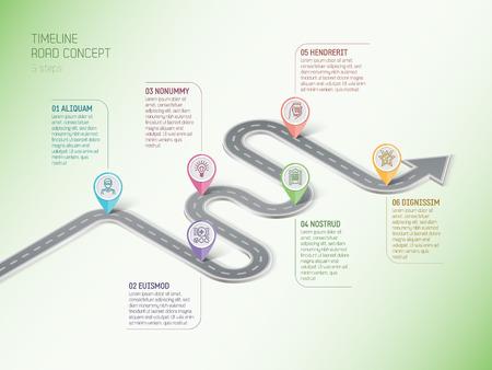 Izometryczne nawigacja mapa plansza 6 kroków koncepcja osi czasu. Kręta droga. Ilustracji wektorowych.