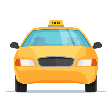 フラット デザイン タクシー車のフロント ビュー。ベクトルの図。  イラスト・ベクター素材