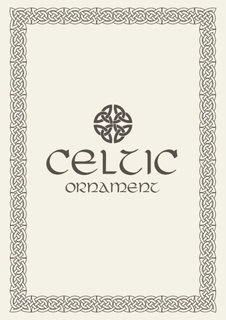 Celtic knot braided frame border ornament. Vector illustration. Vettoriali