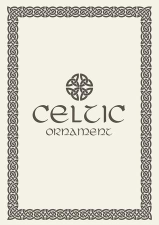 ケルト族の結び目は、フレーム枠飾りを編みこみ。ベクトルの図。