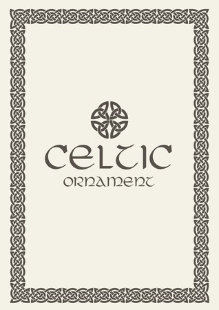 Celtic knot braided frame border ornament. Vector illustration. Çizim