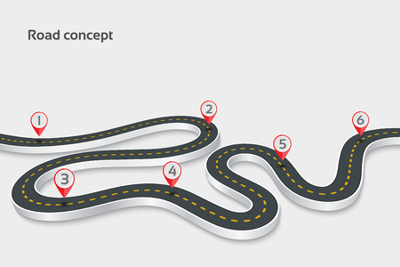 Winding 3d road infographic concept on a white background. Timel Vettoriali