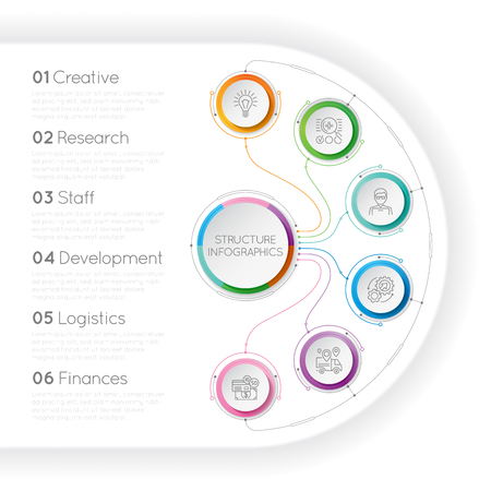 Infographics template with a six structure elements of business