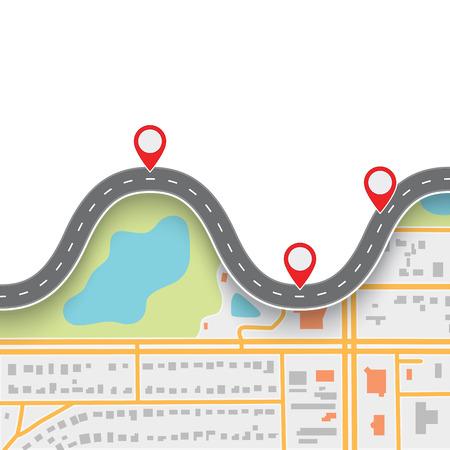 mapa de procesos: Ruta de viaje por carretera. Winding Road en mapa de resumen de navegación GPS