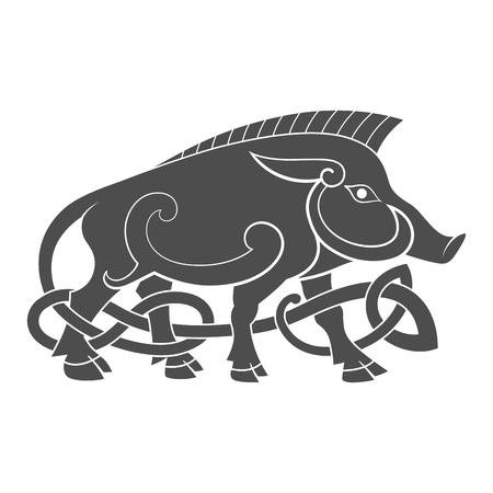 멧돼지의 고대 켈트 신화의 상징 일러스트