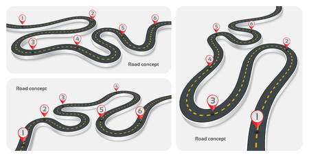白い背景の 3 d 道路インフォ グラフィック概念を巻き。タイムライン テンプレートのセット。ベクトル図