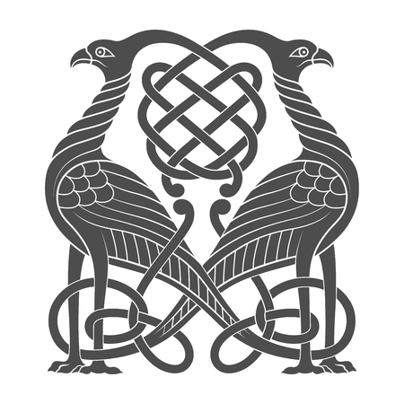 Ancient celtic mythological symbol of bird. Vector knot ornament.