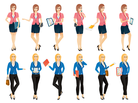 Cartoon sexy young business woman or secretary in various poses. Vector illustration set Illustration