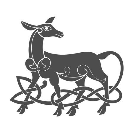 aboriginal art: Ancient celtic mythological symbol of doe. Vector knot ornament.