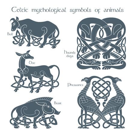 Ancient celtic mythological symbol animails set. Vector knot ornament.