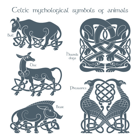 Ancient celtic mythological symbol animails set. Vector knot ornament.
