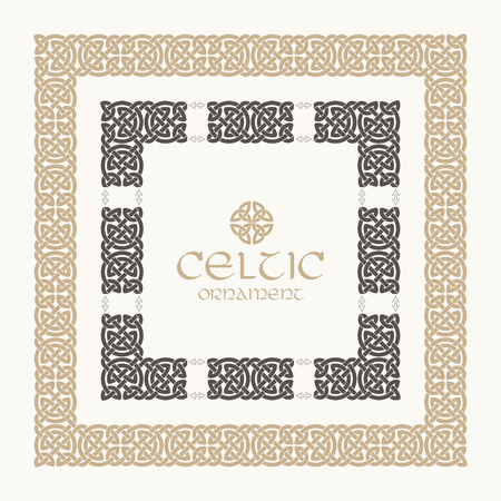 Celtic knot braided frame border ornament kit. Vector illustration.