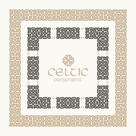 Celtic knot braided frame border ornament kit. Vector illustration.