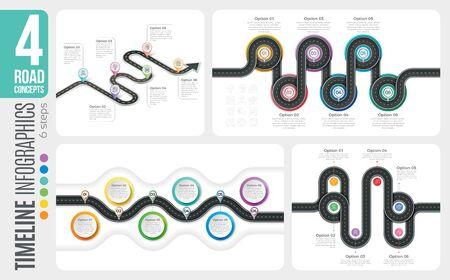 Navigation map 6 steps timeline infographic concepts. 4 winding roads. Vector illustration set