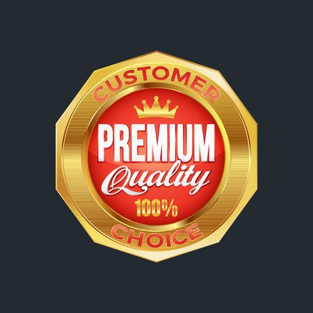 Set of excellent quality red badges with gold border. Vector illustration