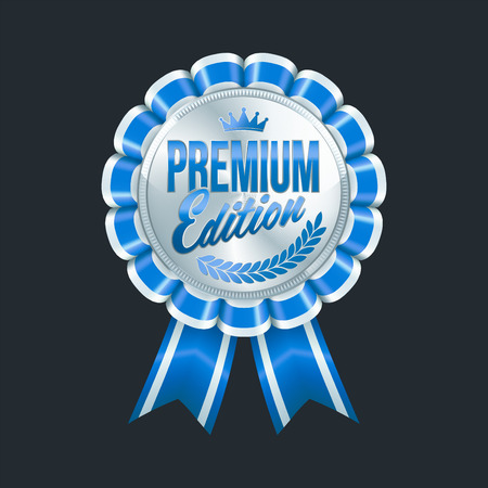 Set of excellent quality blue badges with silver border. Vector illustration