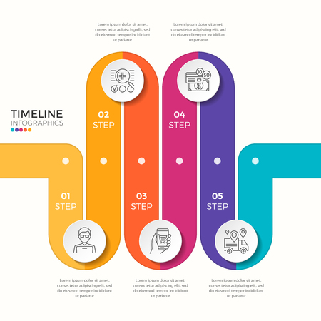Vector 5 steps winding colorful timeline infographic template