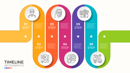 Vector 6 steps winding color timeline infographic template 免版税图像 - 84109148