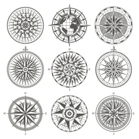 Set of vintage antique wind rose nautical compass signs labels e