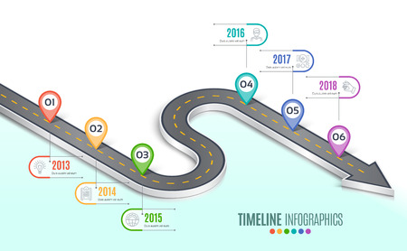Isometric navigation map infographic 6 steps timeline concept. W