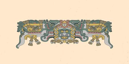 Totemic owl in flight Mayan graphic illustration. Vector artwork