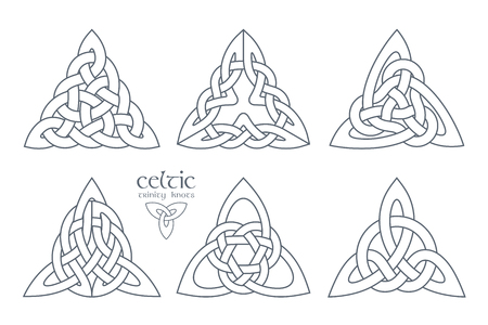 Vector celtic trinity knot part 2. Ethnic ornament. Geometric design. Vector illustration set Illustration