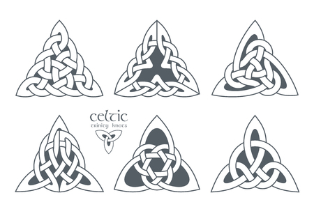 Celtic trinity knot in different patterns. Ethnic ornament. Geometric design. illustration set Ilustrace