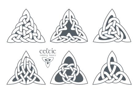 Celtic trinity knot in different patterns. Ethnic ornament. Geometric design. illustration set Illustration