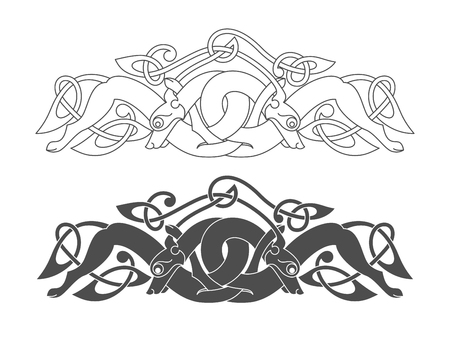狼、犬、獣の古代ケルト神話のシンボル。ベクトルの結び目の飾り。