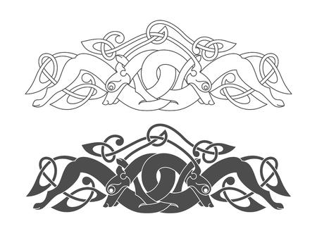 Antiguo símbolo mitológico celta de lobo, perro, bestia. Vector nudo ornamento. Foto de archivo - 84947898