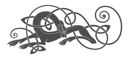 늑대, 개, 짐승의 고대 켈트 신화적인 상징. 벡터 매듭 장식입니다. 일러스트