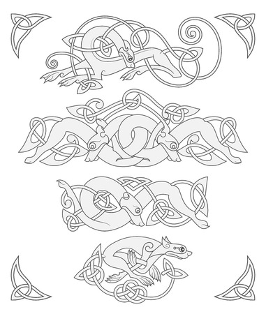 Ancient celtic mythological symbol of wolf, dog, beast. Vector knot ornament set