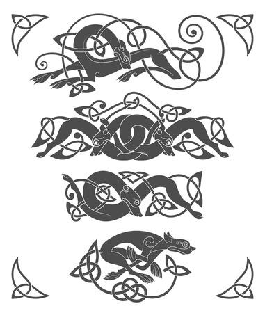 늑대, 개, 짐승의 고대 켈트 신화적인 상징. 벡터 매듭 장식 세트
