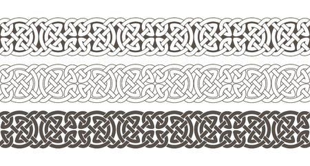 Celtic knot braided frame border ornament. Vector illustration. 向量圖像